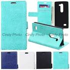 For LG Leon 4G LTE C40 C50 H324 H340N Case Flip Cover Wild Crocodile PU Leather