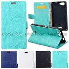 For WIKO Pulp Case Flip Cover Wild Crocodile PU Leather Card Slot Wallet Bag