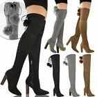 New Womens Ladies Thigh High Stretch Boots Over The Knee Pom Pom High Heels Size
