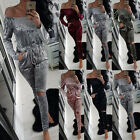 New Fashion Womens Off Shoulder Elastic Waist Long Sleeve Party Jumpsuit Rompers