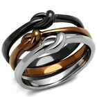 New Stainless Steel Coffee and Black IP 3-Pc Stackable Knot Bow Ring, Sizes 5-10