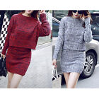 Top + Skirt / Set Woman Winter Knit Sweater Casual Short Dress Suit Long Sleeve