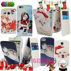 CHRISTMAS XMAS LEATHER MAGNETIC FLIP CASE COVER WALLET FOR VARIOUS MOBILE PHONES