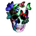 Skull With Butterflies Colourful Abstract WALL ART CANVAS FRAMED OR POSTER PRINT
