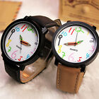 Womens Mens Couple Fashion Watch Faux Leather Analog Quartz Wristwatch Gift GL