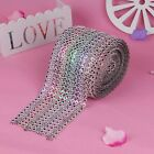 12cm Wide Rainbow Dimond Meshs Wraps 8-Row  Rhinestone Ribbons Party Venue Decor
