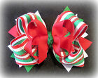 Christmas Candy Cane Boutique Hair Bow 3 layers Loops Spikes Red Green Holiday