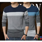 Men Sweater O Neck Striped Slim Fit Knitting Pullover Sweaters Tops Gentleman