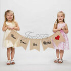 """Here Comes the Bride"" Burlap Bunting Banners Signs Wedding Ceremony Party Decor"