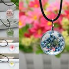 Women Fashion Crystal Glass Ball Flower Pendant Leather Chain Necklace Jewelry