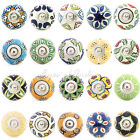 Blue Green Yellow Ceramic Decorative Boho Bohemian Indian Cupboard Dresser Knobs