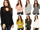 Womens Choker V Neck Jumper Top Ladies Cable Knitted Long Sleeve Side Tie 8-14