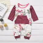 Newborn Baby Girls Striped Romper Bodysuit One-piece Jumpsuit Clothes Outfits CA