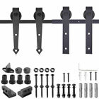 6FT 6.6FT Antique Style Sliding Barn Wood Door Hardware Rustic Roller Track Kit