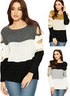 Womens Block Colour Cable Knitted Jumper Ladies Cold Should Cut Long Sleeve Top