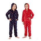 Kids Soft Fleece Reindeer Hooded Zip Up All In One Printed Girls Boys Nightwear