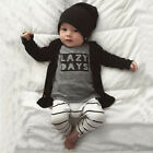 Fashion Baby Suit Letters Printed Long Sleeve T-shirt + Striped Pant Outfit Set