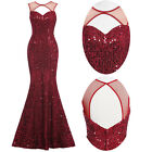 Sequin Mermaid Wedding Prom Cocktail Evening Party Ball Gown Fishtail Long Dress