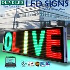 "OLIVE LED Sign 3Color RGY 12""x41"" PC Programmable Scroll. Message Display EMC"