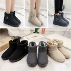 Womens Ladies Faux Suede Buckles Chunky Winter Boots Shoes AU Size 4-8