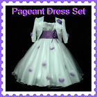 Purple White Christmas Party Flower Girls Dresses + Cardigan SET SIZE 2T,4T,6T