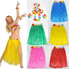 New Hawaiian Fancy Dress Hula Grass Skirt With Flower Accessories Adult Costume