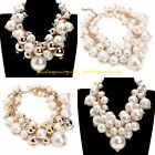 Luxury Gold Chain String Pearl Pendant Statement Collar Bib Necklace US Stock