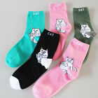 1pair Harajuku Middle Finger Cat Ankle Sock Women Men Funny Cartoon Cotton Socks