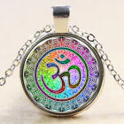 Yoga OM Pendant Necklace Fashion Round Ethnic Silver Plated Glass Jewelry