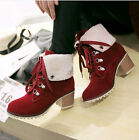 Women Lace Up Pointy Toe Ankle Booties Kitten Heel Rivet Shoes High Top Boots