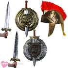 ROMAN HELMET SWORD AND SHIELD SET GLADIATOR CENTURION FANCY DRESS COSTUME GREEK