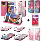 Leather Wallet Diary Flip Pouch Case + Screen Guard for LG Tribute HD / X Style