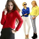 Stylish Women Casual Blouse Loose Long Sleeve Chiffon Shirt Tops Blouse