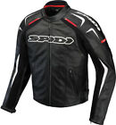 Spidi Black/White Track Leather Motorcycle Jacket With Removable Liner