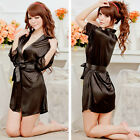 Women Sexy Silk Satin Sleepwear Lace Gown Bath Robe Fashion Nightwear Dress Chic