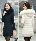 Fashion Winter Women Down Cotton Parka Long Fur Collar Hooded Coat Jacket NEW
