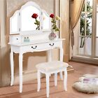 Tri Folding Mirror Vanity Makeup Table Set Bedroom Stool 4 Drawers Desk Girl Hot
