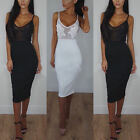 Womens Applique Sheer Mesh Bodycon Strappy Ladies Midi Party Dress Size6-16