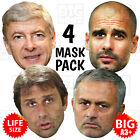 4 MASK PACK WENGER, CONTE, PEP GUARDIOLA, MOURINHO BIG A3 or Life-size Manager