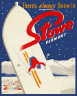 Always Snow in Stowe Vermont Ski Winter Sport USA Vintage Poster Repro FREE S/H
