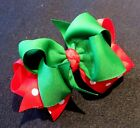Red Dot Green Christmas Boutique Hair Bow Girls Big Double Layer Hairbow Party