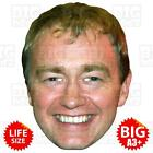 TIM FARRON BIG A3 Size or Life-size Card Face Mask LIBERAL DEMOCRAT LEADER MAY