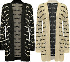 New Womens Moustache Pattern Long Sleeve Top Ladies Open Knitted Cardigan 8 - 14
