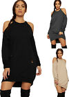Womens Ripped Sweatshirt Dress Top Ladies Cut Out Cold Shoulder Distressed 8-14
