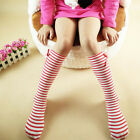 Kids Combed Cotton Striped Stockings Autumn Girls Bowknot Knee High Socks