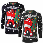 Brave Soul Reed A Crackin Santa Knitted 3D Christmas Jumper New Novelty Sweater