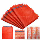 Orange NET WOVEN SACK MESH  BAGS Vegetables Fruits Wood Logs  SMALL MEDIUM LARGE