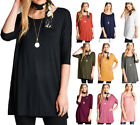 Women's Long Tunic Solid Scoop Neck Top Short Sleeve Trapeze Dress Loose Shirt