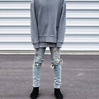 Fashion Mens Distressed Straight Denim Pants Jeans Slim Skinny Ripped Trousers