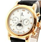 IK Vermilion Leather Mens New Watch-98125G Date Gold Fashion Crystal Case